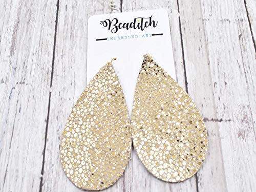 Genuine Leather Teardrop Earrings - Large Statement - Speckled Gold