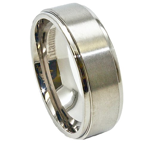 Center Titanium Wedding Band (8mm Titanium Ring with Raised Satin Finished Center Wedding Band Size 8.5 (8 1/2))