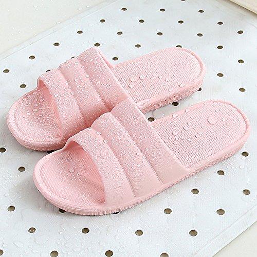 Cómodo Deslizadores frescos del cuarto de baño de los pares del verano Zapatillas ecológicas antideslizantes caseras masculinas femeninas de los deslizadores del baño deslizadizo del piso casero silen E