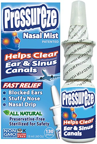 Pressureze Nasal Mist - 0.6 OZ - All Natural, Drug Free, Preservative Free, BPA Free, Sterile, Contamination Free, NON GMO, Vegan, Gluten Free