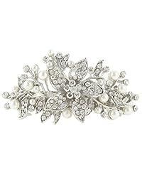 Ever Faith Wedding Hibiscus Cream Simulated Pearl Hair Clip Barrette Clear Austrian Crystal