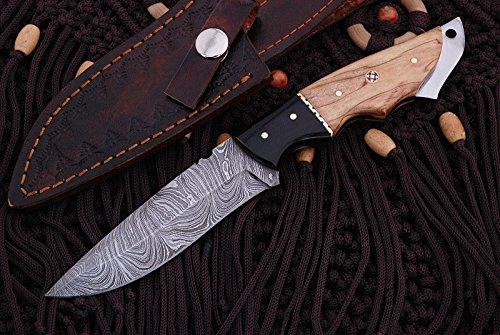 Mason Sharp Edge Custom Handmade Fixed Blade Damascus Hunting Knife with Leather Sheath (Olive Wood Handle)