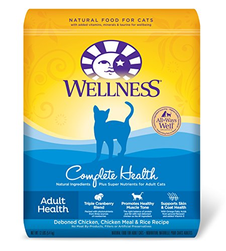 - Wellness Complete Health Natural Dry Cat Food, Chicken & Rice, 12-Pound Bag
