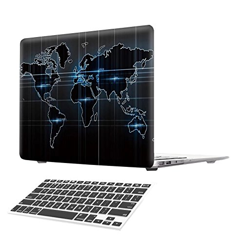 MacBook 12 Inch Case, [Creative World Map] Soundmae Frosted Plastic Hard Shell Skin Smooth Touch Case & Keyboard Cover for MacBook Retina Display 12