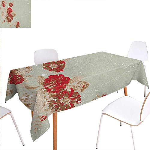 Warm Family Antique Customized Tablecloth Vintage Style Rose Print on Marble Pattern Floral Antique Design Garden Plants Stain Resistant Wrinkle Tablecloth 60