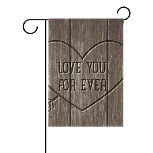 """LEISISI Rustic Wood Texture Garden flag 12""""X18"""" Two Sided Ya"""
