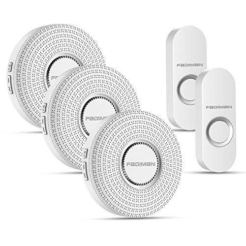 Wireless Doorbell FADIMAN Remote LED Flash with 52 chimes, 4 Levels of Adjustable volume, 1000 Feet Operating Range (2 Transmitters, 3 Receivers)