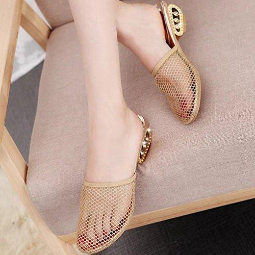 Dorado Pantuflas de Oro Chanclas Kairuun y Verano Mujer Zapatos Tacón Negro Alto Sandalias de Hueco nx6ZF