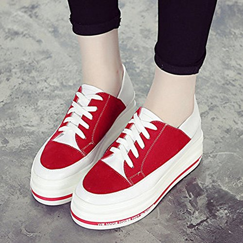CYBLING High Top Increased height Shoes For Womens Comfort Walking Lace Up Sport Travel Sneakers Red p57jU