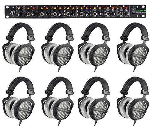 (8) Beyerdynamic DT-990-PRO-250 Studio Tracking Headphones+Mackie Headphone Amp