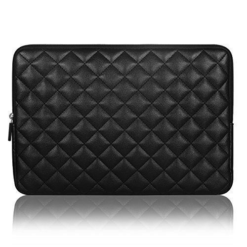 Hard Case Leather Sleeve (Arvok 12.9-13.3 inch Laptop Sleeve Water Resistant & Shock Resistant Super Protection for Notebook/Chromebook/Ultrabook PC Diamond Foam Splash PU Leather Sleeve Case Travel Bag, Black)