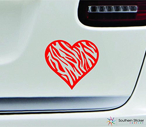 - Zebra heart 5x5.3 red stripes animal love africa horse black and white color sticker state decal vinyl - Made and Shipped in USA