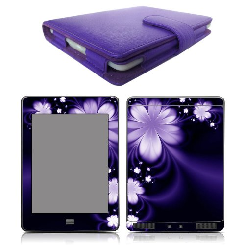 Genuine Leather Kindle Jacket - Mochie Genuine Leather Pouch Case Cover Jacket for Amazon Kindle Touch Purple and Skin Sticker Accessory Combo
