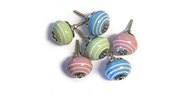 Handmade Unique Pink and Blue Striped Ceramic Cabinet Knob Sold in Sets