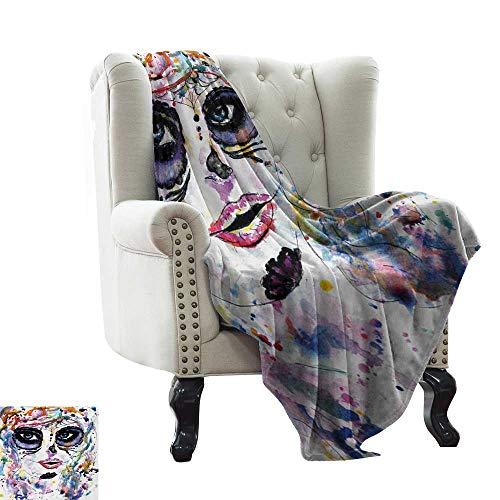 Sugar Skull,Warm Microfiber All Season Blanket,Halloween Girl with Sugar Skull Makeup Watercolor Painting Style Creepy Look 50