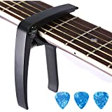 Guitar Capo Trigger with 3pcs Guitar Picks Single Hand Use Quick Change Aluminum Alloy Black Capos for Classical Acoustic Electric Guitars Bass Ukulele and more