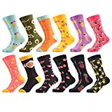 WeciBor Men's Funny Novelty Colorful Crazy Fruit Style Casual Combed Cotton Crew Socks 12 Pack