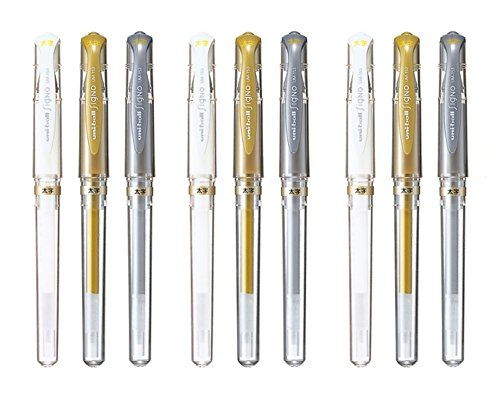 Uni-Ball Signo UM-153 Broad Point Gel Impact Pen, 1.0mm, White / Gold / Silver, 3 pens each / Total 9 pens (Japan Import)