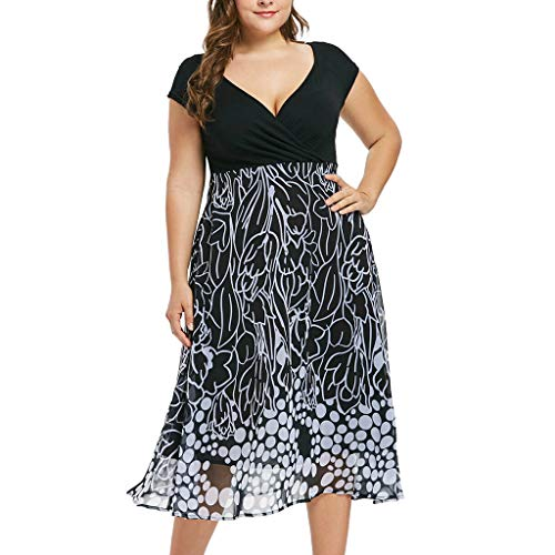 Women's Sleeveless V-Neckline Lace Top Plus Size Cocktail Party Pots Printed Swing Dress (XL, Black) by Twinsmall (Image #7)