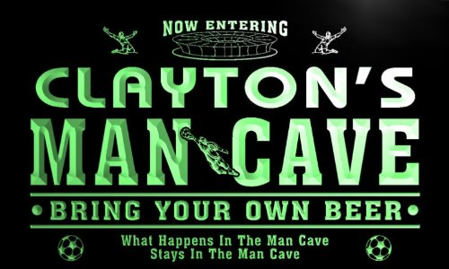qd1468-g CLAYTON's Man Cave Soccer Football Neon Beer Sign by AdvPro Name