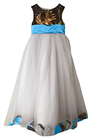 MILANO BRIDE Girl's Prom Dress Wedding Party Gown Camo Long Empire-Waist Tulle -Child 12-Blue&Camo