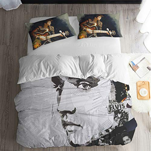 ARL HOME Music Bedding 3Pcs Full Size Vintage Rock Music Duvet Cover Singer Poster Bedroom Decor Music Quilt Cover Electric Guitar Bedding (2 Pillow Cases)