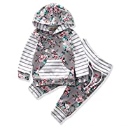Valentines Baby Girls Clothes 2pcs Outfit Sets Flower Print Hoodies Pocket Top + Striped Long Pants