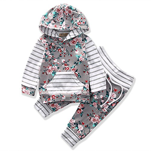 Valentines Baby Girls Clothes 2pcs Outfit Sets Flower Print Hoodies Pocket Top + Striped Long Pants -