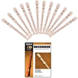 Music Teacher Recorder Class Bundle - Includes 12 Rockafeller 3-Piece C Soprano Recorders + 1 Essential Elements for Recorder Classroom Method – Student Book 1 w/CD
