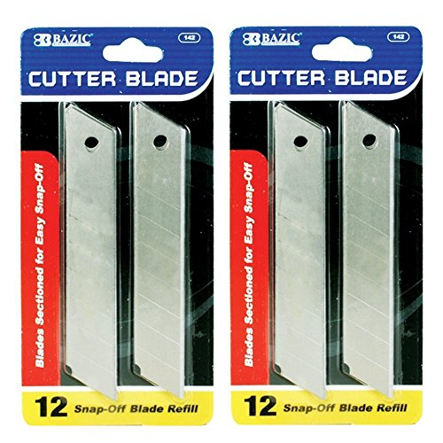 Cutter Blade 18mm Snap Off Box Utility Knife Razor Refill Replacement Blades 12 Per Pack (2 Pack) (Blades Refill Knife)