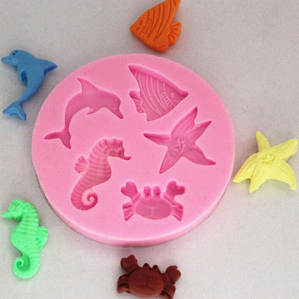 Mold For - 1pcs Soap Moulds 3d Dolphin Crab Fish Seahorse Starfish Silicone Mold - Melting Stepping Sinkers Bricks Pancake Jewelry Pregnant Steam Bars Fusing Cross Stones Heart Kids Wome