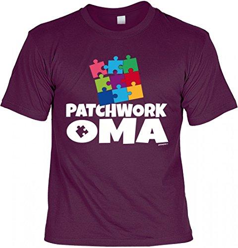 T-Shirt Grossmutter - Patchwork Oma - Geschenk Idee mit Humor zum Muttertag Omatag oder Geburtstag - bordeaux