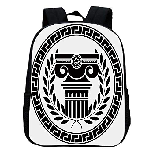 Toga Party Fashion Kindergarten Shoulder Bag,Hellenic Column and Laurel Wreath Heraldic Symbol with Olive Branch Graphic Decorative For Hiking,One_Size