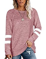 WXDSNH Vrouwen Sport Sweatshirt lange mouwen stiksels ronde hals T-shirt Top
