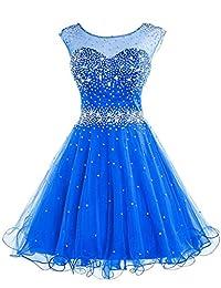 Sisjuly Women's Backless Sheer Crewneck Beaded Crystals Christmas Dress