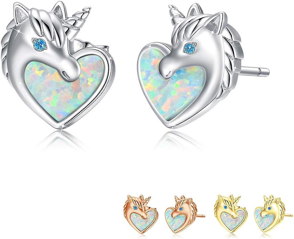 Girls Opal Unicorn Stud Earring S925 Sterling Silver Love Heart Ear Studs Animal Unicorn Jewelry gift for Women Hypoallergenic.