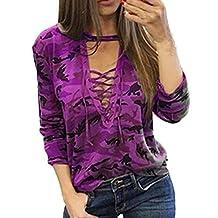 Willsa Fashion Long Sleeve Shirt Slim Casual Blouse Camouflage Print Tops