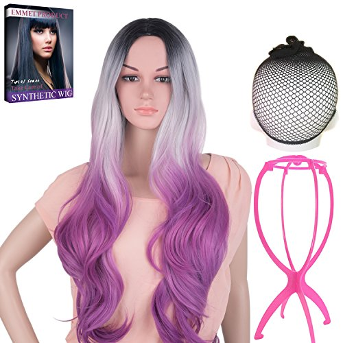 Emmet Long Wavy Synthetic Full Wigs Ombre Color Women's Quality Kanekalon Big Spiral Curly Cosplay Party Costume Wig with Free Wig Cap & Free Wig Stand Holder & Free Ebook (Easy To Prepare Halloween Costume)