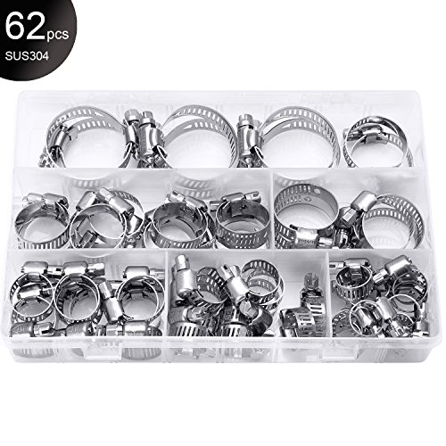 "SwitchMe 304 Stainless Steel Worm Gear Hose Clamps, 1/4"" to 1-1/2"" Diameter Range, 62Pcs Mix 6 Sizes Assortment Kit"
