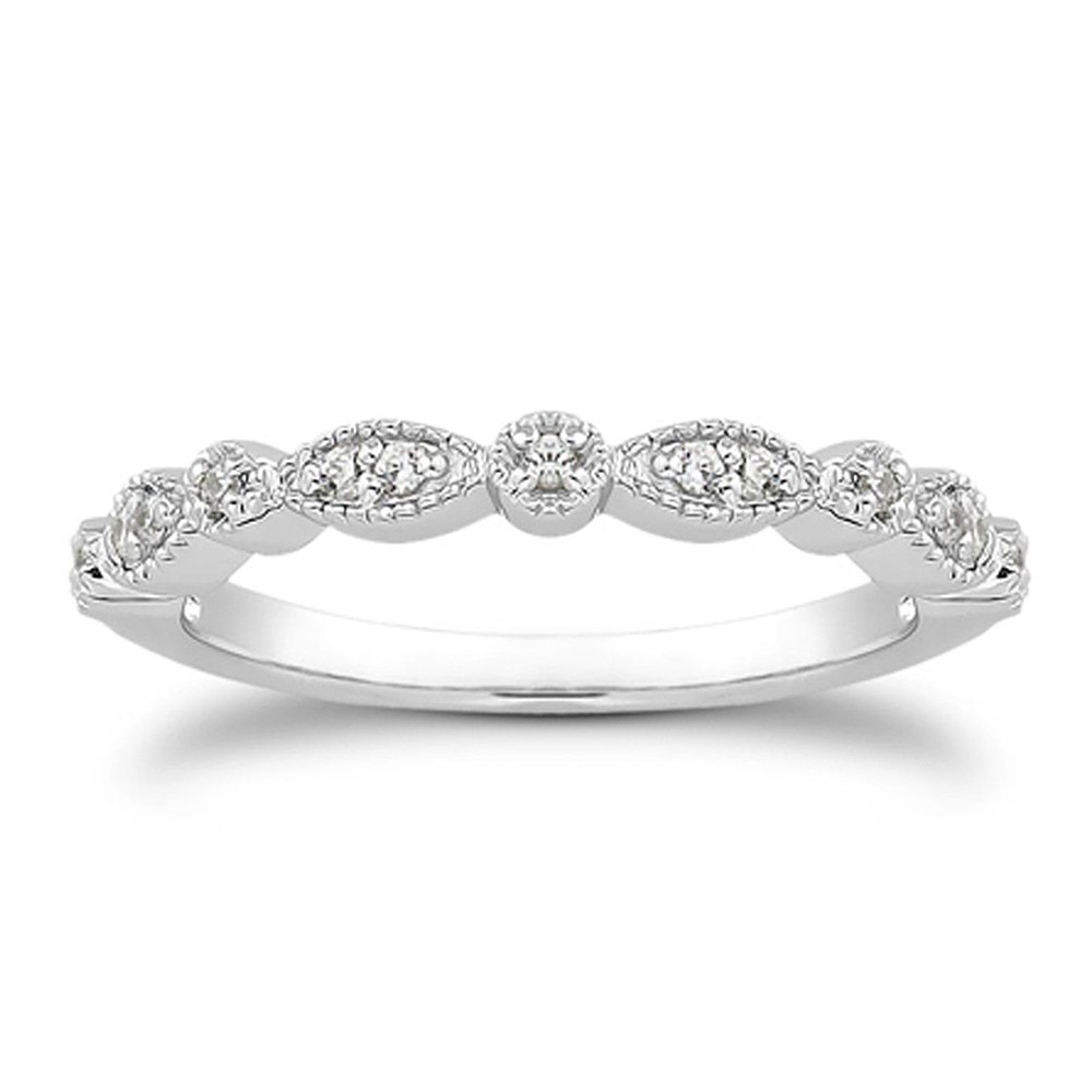 espere Milgrain Marquise & Round Cubic Zirconia Eternity Ring Stacking Infinity Wedding Band Sterling Silver Platium Plated Size 6