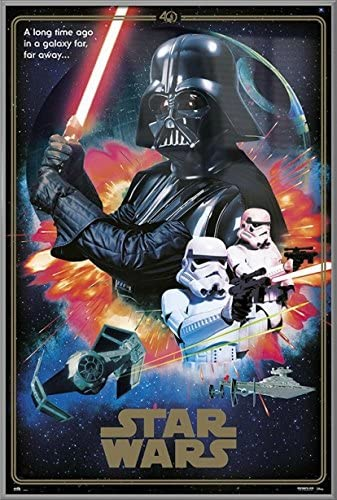 Amazon Com Star Wars Episode Iv A New Hope Framed Movie Poster Print 40th Anniversary Collage The Villains Darth Vader Stormtroopers Size 24 Inches X 36 Inches Posters Prints