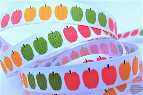 Grosgrain Ribbon - Multi-Colored Apple Print - 3/8