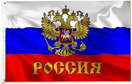 Bandera de Rusia con escudo con águila, 150 x 90 cm, metálica: Amazon.es: Jardín