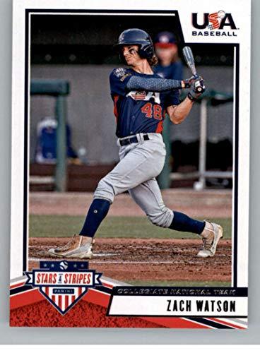 2019 Panini Stars and Stripes Hobby Baseball #100 Zach Watson USA Baseball Collegiate National Team Official USA Trading Card