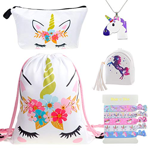 DRESHOW Unicorn Gifts for Girls Drawstring Backpack/Make Up Bag Unicorn Set Children Party