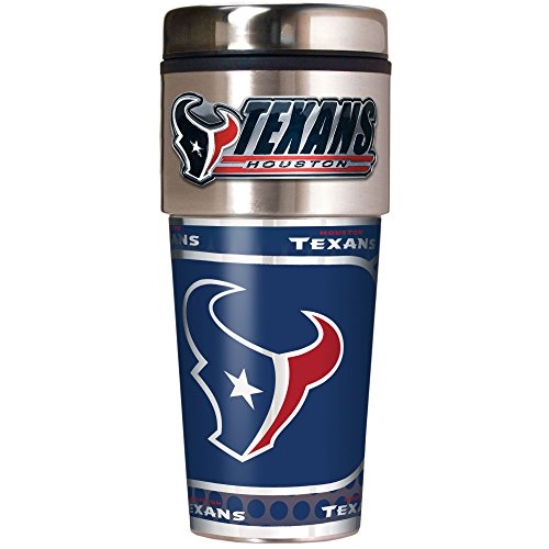 NFL Houston Texans Metallic Travel Tumbler, Stainless Steel and Black Vinyl, (Houston Texans Holder)