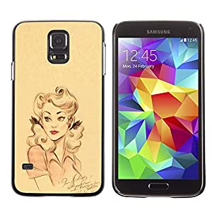 Planetar® ( Retro Woman Pink Yellow Girl Lips Pin Up ) SAMSUNG Galaxy S5 V / i9600 / SM-G900F / SM-G900M / SM-G900A / SM-G900T / SM-G900W8 Fundas Cover Cubre Hard Case Cover