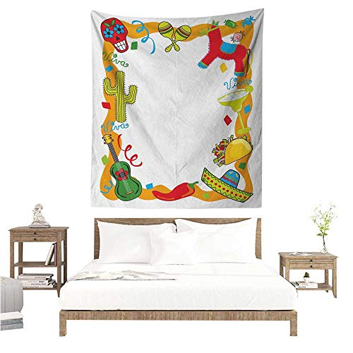 Wall Art Tapestry Fiesta Cartoon Drawing Style Mexican Pinata Taco Chili Pepper Sugar Skull Pattern Guitar 54W x 72L INCH Suitable for Bedroom Living Room Dormitory