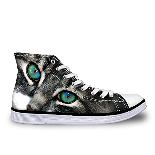 Sneakers Canvas 4 Cat Print Top Fashion Trainers Cat HUGSIDEA Eyes Men's High qzH67WnTxw