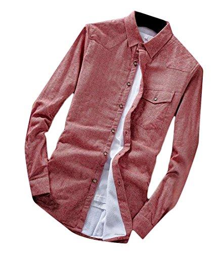 Oggi Camicie In Mens Maniche Pile Rosse Fit Lunghe Slim uk Foderato qAwf1qpz